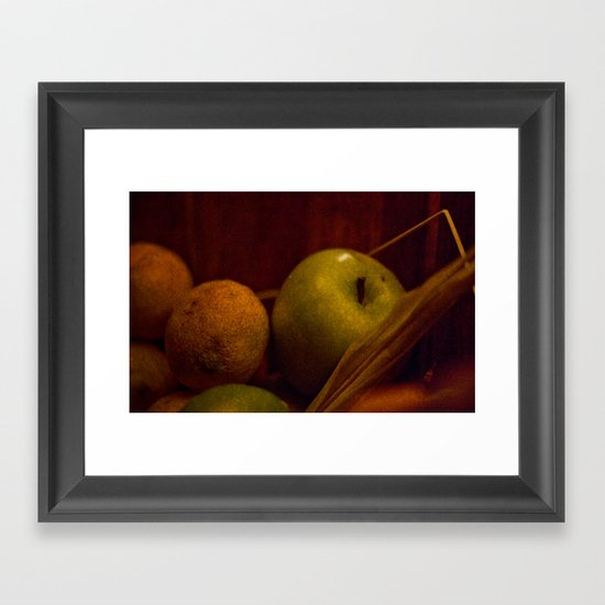 Apple and Orange Still Life Framed Art Print