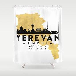 YEREVAN ARMENIA SILHOUETTE SKYLINE MAP ART Shower Curtain