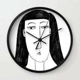 Stylised Charcoal Painting of a Woman Wall Clock