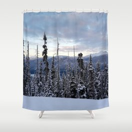 Snowy spruces frontier Shower Curtain