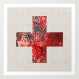 Medic - Abstract Medical Cross In Red And Black Art Print