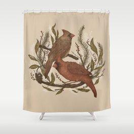 Wintery Cardinals Shower Curtain