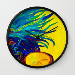 Blue Pineapple Abstract Wall Clock