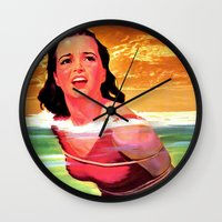 bondage Wall Clocks featuring Beach Blanket Bondage by sasha alexandre keen