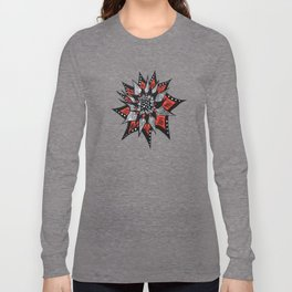 Spiked Abstract Flower In Red And Black Long Sleeve T-shirt