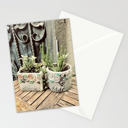 Cactus plants on coffee table Stationery Cards