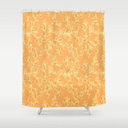 Orange Floral Pattern Shower Curtain