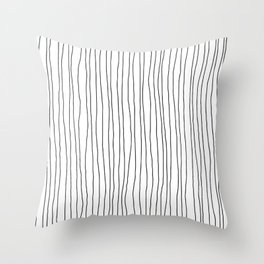 Hand Drawn Lines Vertical White Dark Gray Throw Pillow