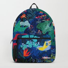 Brightly Rainbow Tropical Jungle Mural with Birds and Tiny Big Cats Backpack
