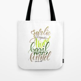 Hand Lettered Italian Spices Tote Bag
