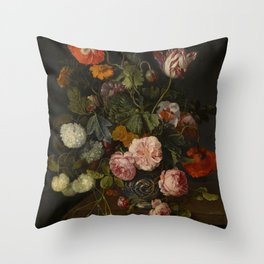 """Cornelis Kick """"A still life with parrot tulips, poppies, roses, snow balls, and other flowers"""" Throw Pillow"""