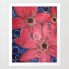 Flowers and Bubbles Art Print