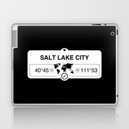 Salt Lake City Utah Map GPS Coordinates Artwork with Compass Laptop & iPad Skin