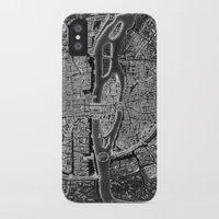 paris iPhone & iPod Cases featuring Paris map by Le petit Archiviste