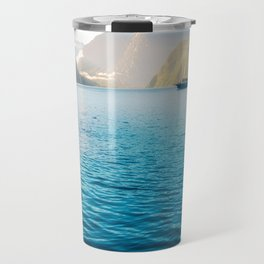 Morning sun glow and dolphins at Milford Sound Travel Mug