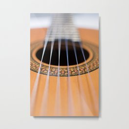 Strings of the guitar above the rose window Metal Print