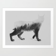 The Lynx (black & white version) Art Print