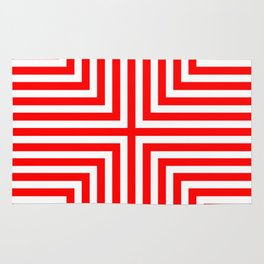 Red & white chevron Rug