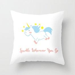 Sparkling Unicorn Throw Pillow