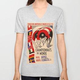 Retro cycling world championships 1935 Brussels Unisex V-Neck