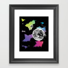 The Neon Spectrum and Cosmic Matter Framed Art Print