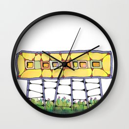 Funky yellow architectural design 51 Wall Clock