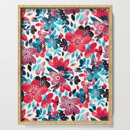 Happy Red Flower Collage Serving Tray