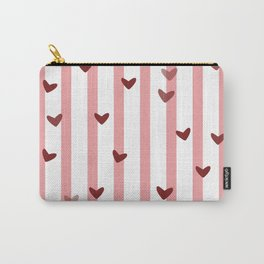 Love concept of hearts on striped background Carry-All Pouch