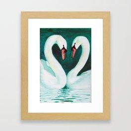 Swans Flirt Framed Art Print