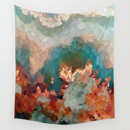 Turquoise Copper Agate Low Poly Geometric Triangles Wall Tapestry