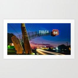 Tulsa Oklahoma Route 66 Western Gateway Arch Panorama Art Print