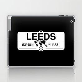Leeds England GPS Coordinates Map Artwork with Compass Laptop & iPad Skin