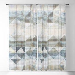 Geo Marble - Natural and Blue #buyart #marble Sheer Curtain