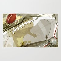 football Area & Throw Rugs featuring Football by Robin Curtiss