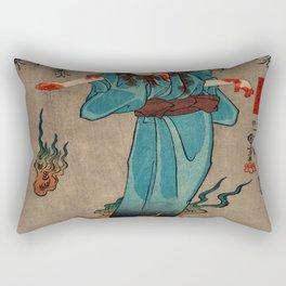 Flaming Spirit Traditional Japanese Character Rectangular Pillow