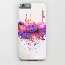 Hannover skyline in watercolor background iPhone Case