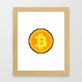 Pixel art Bitcoin coin Framed Art Print