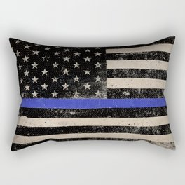Thin Blue Line Police Flag First Responder USA Hero Rectangular Pillow