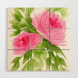 Pink Peonies in Watercolor Wood Wall Art
