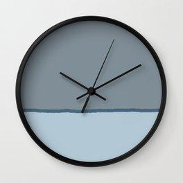 Tricolore Baby Blue Gray Dark Cyan brush line Wall Clock