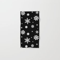 Snowflakes | Black & White Hand & Bath Towel
