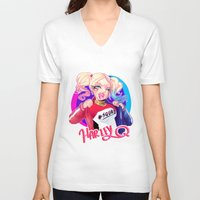 harley V-neck T-shirts featuring HARLEY by Miaolait