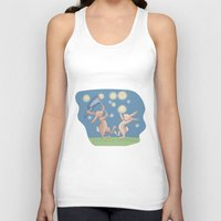 fireflies Tank Tops featuring Bunnies Catching Fireflies by Meant for a Moment Designs