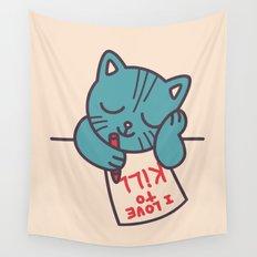 I Love To Kill Cat Wall Tapestry