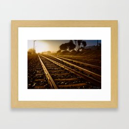 Railway Tracks at sunrise and twilight sky - Landscape Photography #Society6 Framed Art Print