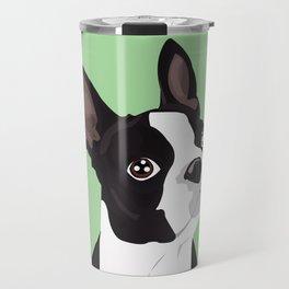Boston Terrier Portrait - Green Travel Mug