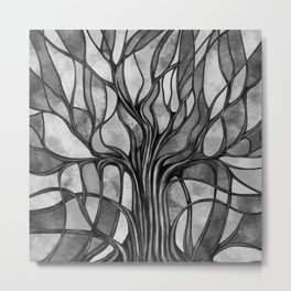 Mystic Tree of Life Mosaic Grayscale Watercolor Metal Print