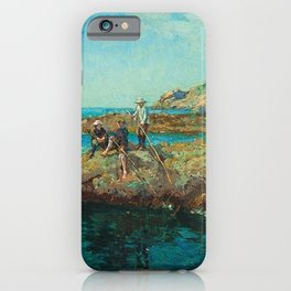 The Sea Urchins, nautical coastal landscape painting by Lamorna Birch iPhone Case