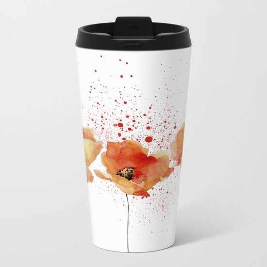 Three Poppies #society6 Metal Travel Mug