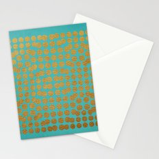 Gold Dots on Turquoise Stationery Cards
